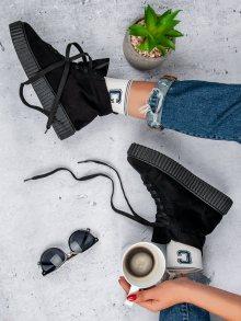 Módní černé dámské  tenisky bez podpatku