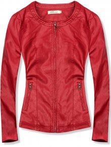 Červená koženková bunda s kapsami