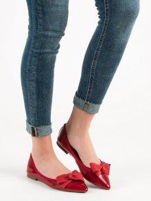 Exkluzívní dámské  baleríny červené bez podpatku