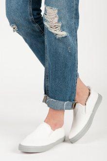 Zajímavé  tenisky dámské bílé bez podpatku