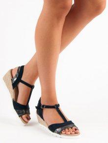Komfortní  sandály modré dámské na klínku