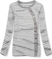 Šedé pruhované tričko s ozdobnými knoflíky