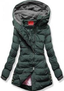MODOVO Dámská zimní bunda s kapucí S603 khaki