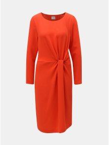 Oranžové šaty s řasením na boku VILA Sealo