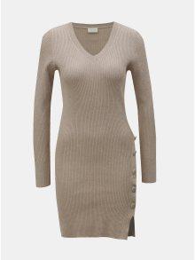 Béžové žebrované svetrové šaty s knoflíky VILA Soldana