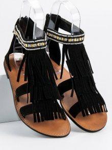 Trendy dámské  sandály černé bez podpatku