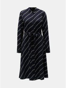 Tmavě modré košilové pruhované midi šaty VERO MODA Lisa