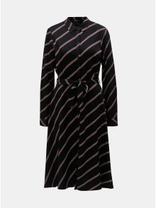 Černé košilové pruhované midi šaty VERO MODA Lisa
