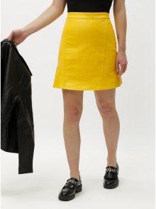 Žlutá koženková sukně ONLY Allison