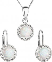 Evolution Group Třpytivá souprava šperků 39160.1 & white s.opal (náušnice, řetízek, přívěsek)