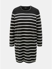 Bílo-černé svetrové pruhované šaty ONLY Ayo