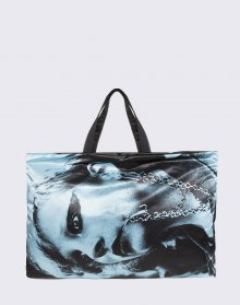 Eastpak Raf Simons Poster Tote Black Satin Punk Blue