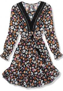 Černo-hnědé květinové šaty