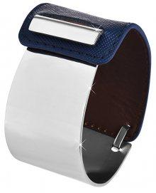 Troli Fashion náramek z oceli a kůže stříbrný/modrý