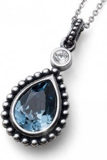 Oliver Weber Náhrdelník s modrým krystalem Antique Drop 11730 207