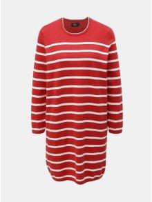 Bílo-červené svetrové pruhované šaty ONLY Ayo