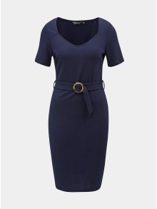 Tmavě modré pouzdrové šaty s páskem Dorothy Perkins Tall