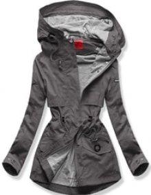 MODOVO Dámská přechodná bunda s kapucí QL-243 grafitová
