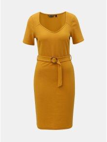 Hořčicové pouzdrové šaty s ozdobným páskem Dorothy Perkins Tall