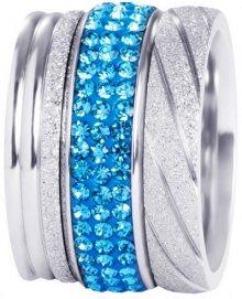Preciosa Sada tří vrstvených prstenů ve stříbrné a modré barvě 7305 70 53 mm