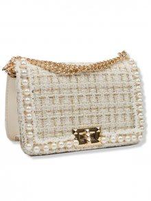 Béžová elegantní kabelka s perlami