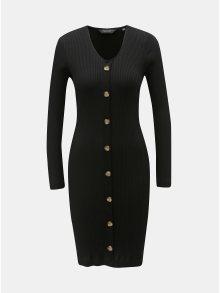 Černé žebrované pouzdrové šaty s ozdobnými knoflíky Dorothy Perkins