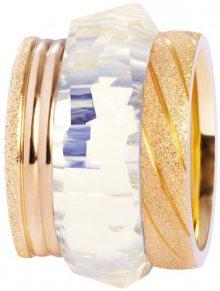 Preciosa Sada tří vrstvených prstenů ve zlaté barvě 7303 70 (Obvod 57 mm)