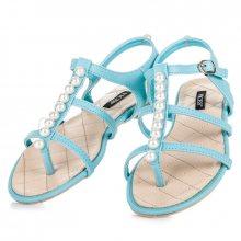 Stylové modré sandály s korálky