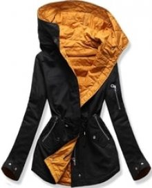 MODOVO Dámská přechodná bunda QL-333 černo-oranžová