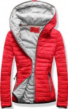 Červeno-šedá prošívaná bunda