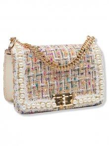 Barevná elegantní kabelka s perlami