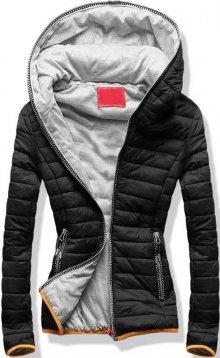 Černo-šedá prošívaná bunda