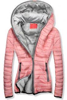 Růžovo-šedá prošívaná bunda