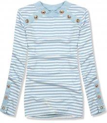 Baby blue pruhované strečové tričko