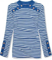 Kobaltově modré pruhované strečové tričko