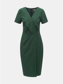 Tmavě zelené pouzdrové šaty s překládaným výstřihem Dorothy Perkins Tall