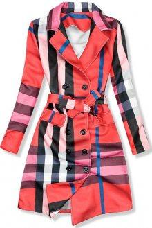 Červený károvaný plášť