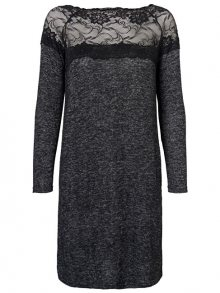 Vero Moda Dámské šaty Cima Lace Ls Dress Dark Grey Melange W.Black Lace M