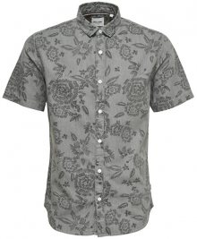 ONLY&SONS Pánská košile Tapor Ss Flower Aop Denim Shirt Grey Pinstripe S