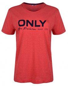 ONLY Dámské triko Logo Slub Dnm Tee Mars Red XS