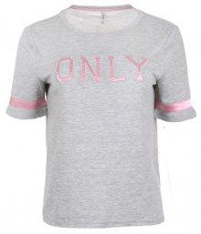 ONLY Dámské triko Mia S/S Only Logo Top Jrs Light Grey Melange S