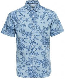 ONLY&SONS Pánská košile Tapor Ss Flower Aop Denim Shirt Dark Sapphire S