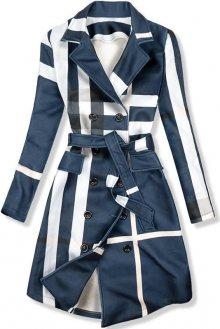 Tmavě modrý károvaný plášť