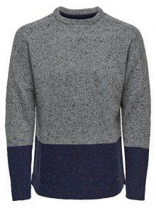 ONLY&SONS Pánský svetr Bole Naps Knit Medium Grey Melange S