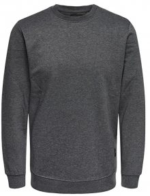 ONLY&SONS Pánská mikina Basic Sweat Crew Neck Brushed Noos Dark Grey Melange S