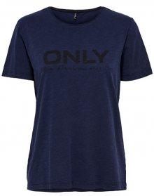 ONLY Dámské triko Logo Slub Dnm Tee Dark Blue Denim XS