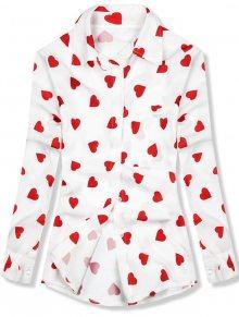 Košile se srdíčkovým motivem bílá/červená