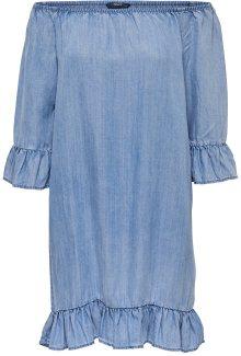 ONLY Dámské šaty Seco Lightblue Shoulder Dnm Dress Noos Light Blue Denim 36