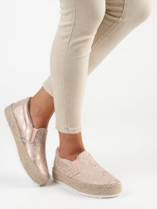 Moderní dámské růžové  polobotky bez podpatku