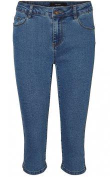Vero Moda Dámské kalhoty Hot Seven Nw Dnm Slit Knicker Mix Noos Medium Blue Denim XS